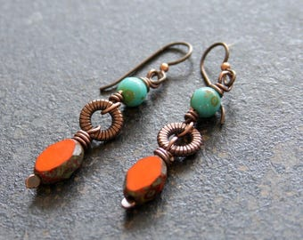 Rustic Orange Earrings, Czech Glass Copper Dangle Earrings, Earthy Turquoise Orange Earrings