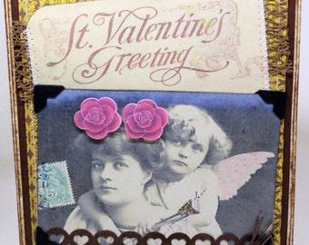 Valentine's Day Card - St Valentine's Greeting  - Handmade Valentine's Day Greeting Card - Vintage Valentine