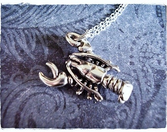 Silver Lobster Necklace - Sterling Silver Lobster Charm on a Delicate Sterling Silver Cable Chain or Charm Only