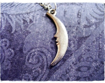 Silver Skinny Crescent Moon Necklace - Antique Pewter Skinny Crescent Moon Charm on a Delicate Silver Plated Cable Chain or Charm Only
