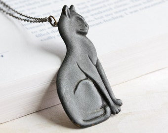 Large Oxidized Black Cat Pendant Necklace on Antiqued Brass Chain