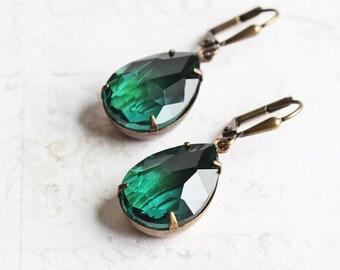 Green Drop Earrings, Emerald Green Rhinestone Earrings on Antiqued Brass Hooks, Dark Green Earrings, Teardrop Earrings, Prom Jewelry