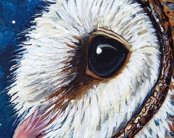 BARN OWL Mixed Media Paintings Owls Original Art Totem Animals Bird Medicine Spirit Guides Wildlife Artwork Lotus and Nightshade Tyto Alba