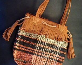 Vintage 1930s suede fringed and tasseled plaid wool daytime bag or purse - drawstring pouch