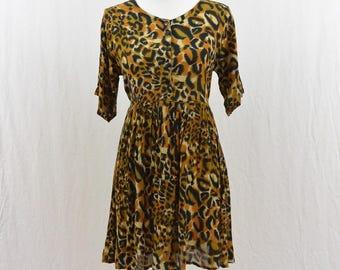 Vintage Leopard Print Babydoll Mini Dress, Size XS-Small, Grunge, Hipster, Boho, 90's Clothing, Festival Dress, Tumblr, Punk, Hippie