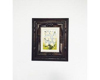 Vintage Floral Oil Painting / Carved Wood Frame