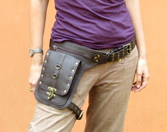 Leather Leg Holster Thigh Bag Utility Belt Steampunk Festival Belt Bag with Pockets in Brown HB37b *Free Shipping*