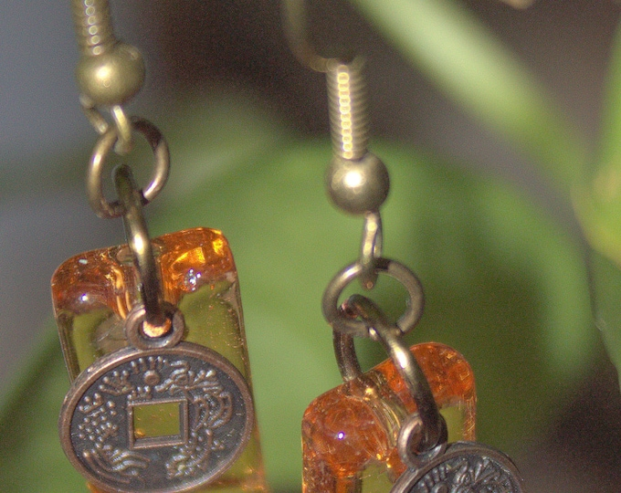 Chinese Copper Coin and Amber Fused Glass Earrings