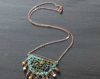 Blue Green Patina Filigree Necklace with Blue Green Beads