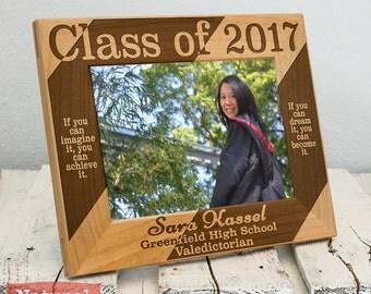 Personalized Graduation Frame-Graduation Gift-Class of 2017-Wood Engraved-Dream & Achieve-Graduation-Color Choice