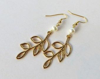 Gold Leaf Earrings Pearl Gold Earrings Dangle, Gold Dangle Earrings Leaf, Gold Pearl Earrings Handmade, Long Gold Earrings for Women