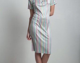 SALE vintage 70s polo shirt dress shiny slinky pastel stripes short sleeves knee length EXTRA Small XS Small S