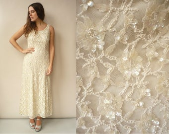 1990's Does 1930's Vintage Ivory Lace & Beaded Bohemian Wedding Evening Dress Size Small