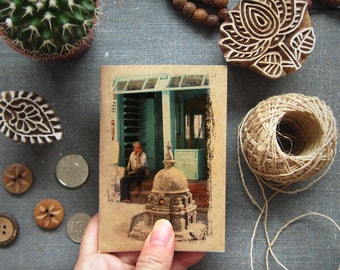 Boho Gift Travelers Notebook - Nepal 17 - Mini Travel Pocket Size - Waiting Man, Nepal - Inspirations in your Pocket - Small Diary