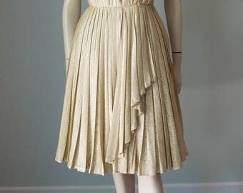 1970s Gold Lame' Disco Goddess Dress / Perfect Pleats / Fit and Flare with Swag Skirt / Small