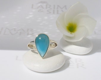 Larimar ring size 5.5 by Larimarandsilver, Space Princess - electric blue Larimar pear, deep blue drop, japan size 10, handmade Larimar ring