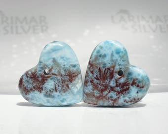 Two Larimar beads from Larimarandsilver, Love Coral 3 - aqua red Larimar hearts, red moss, paired hearts, focal heart bead, handmade beads