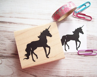 Unicorn Stamp , Fairytale Magic Fantasy Rubber Stamp