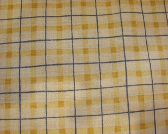 Leslie Beck for Cranston Village Yellow and Blue Check 100% Cotton Quilting Fabric