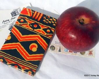 Orange black Ethnic print ID wallet  business card case reuse vegan bold orange and black geometric design