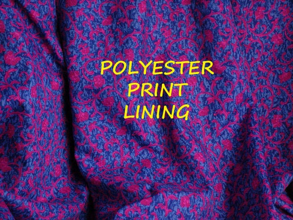 1 YARD, Bright Blue Pink Paisley Print, Wide Lining or Fashion Fabric, Lightweight Polyester, B13