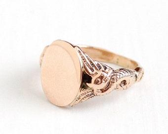 Antique Art Nouveau 10k Rose Gold Dragon Signet Ring - Vintage Edwardian 1900s Size 5 Blank Monogram Personalize Fine Figural Motif Jewelry