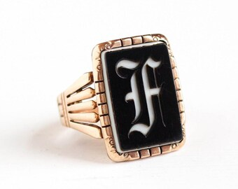 Sale - Antique 10k Rose Gold Initial Letter F Signet Banded Black & White Onyx Intaglio Ring - Victorian Size 9 Men's Monogram Jewelry