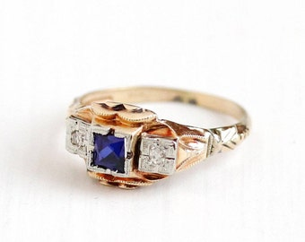 Sale - Vintage 10k Rosy Yellow Gold Diamond & Created Blue Sapphire Ring - Art Deco 1930s Size 5 Anniversary Three Stone Fine Gem Jewelry