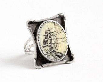 Sale - Vintage Sterling Silver Scrimshaw Ship Ring - Retro 1960s Size 6 1/4 Ocean Nautical Organic Gem Statement Fox Maker's Mark Jewelry
