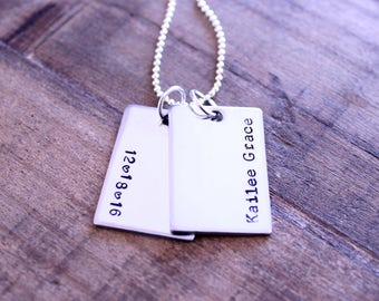 Hand Stamped Dog Tag Necklace, Name Date Number Initial Stamped Dog Tag, Stainless Steel Dog Tag, Stamped Silver Dog Tag, Custom Rectangle
