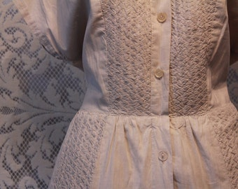 Vintage 1950s Grey Dress with Intricate Pleating