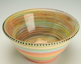 Serving Bowl, Ceramic Bowl, Colorful Fruit or Small Mix Bowl, Pottery Bowl, Serving Bowl, Ceramic Spiral Dot Watercolor Bowl Colorful