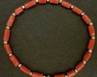 Red Coral Bracelet Mediterranean Coral Jewelry Handmade Stretch