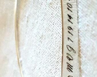 Silver Secret Code Bracelet, Personalized Bracelet, Engraved Bar Bracelet, Engraved Characters, Handmade Bangle Bracelets