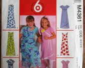 Easy to Sew Little Girls Lined Dress and Scarf Sizes 3 4 5 6 McCalls Pattern M4361 UNCUT