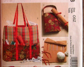 Knitting and Sewing Organizers, Crochet Hook Case, Tote McCalls Crafts Pattern M4728 UNCUT