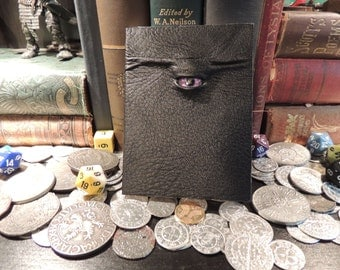 Mythical Beast Book (Mini notebook Black leather with Purple eye)