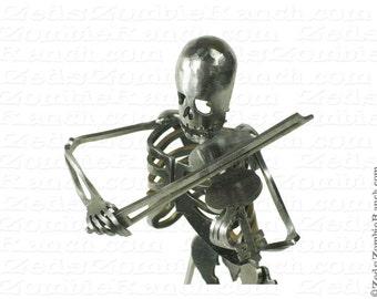 Zombie Skeleton Playing Violin Metal Sculpture