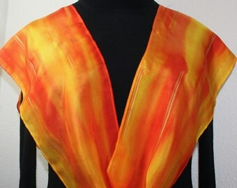 Silk Scarf Handpainted. Orange, Golden Yellow Handmade Scarf BURNING SUN, in 2 SIZES. Mother Gift. Gift-Wrapped. Hand Dyed Silk Scarf.
