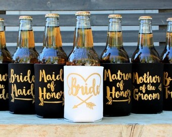 Bride Tribe Can Coolers, Tribal, Arrow, Bride Tribe Favors, Bride Tribe Bridesmaids