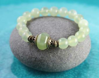 Natural Jade Bracelet, Green Jade Bracelet, New Jade Bracelet, Stretch Bracelet, Mala Bracelet, Green Jade Mala, Jade Bracelet, Yoga Jewelry