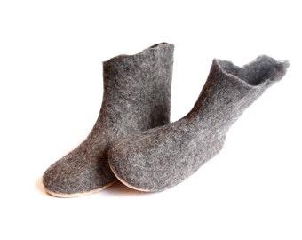House Boot Slippers, Felt Slipper Boots, Women Slippers Boots, Felt Wool Slippers, Grey Slippers, Ankle Boots, Eco Friendly Minimalist Shoes