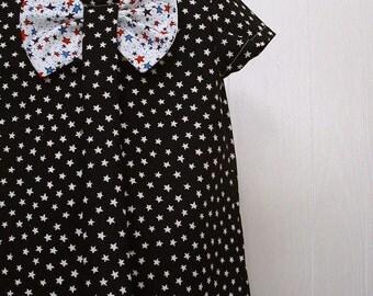 Girls Clothing,Girls Bow Dress, Girls School Dress ,Girls Portrait Dress, Girls Stars Dress Sizes 4 thru 8