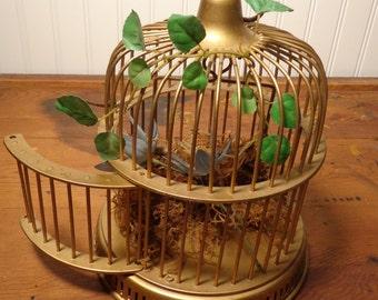 Vintage Domed Solid Brass Birdcage - Large Brass Birdcage  -  16-859