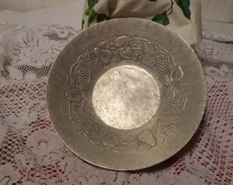 Vintage Hand Forged Aluminum Serving Bowl - Hammered Aluminum Fruit Bowl  -  12-008