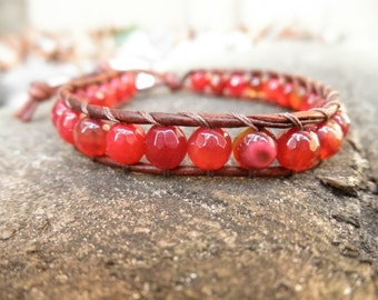 Single Faceted Red Agate and Leather Wrap Bracelet