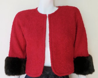Vintage 1950's/Red Wool Boucle Cropped Jacket with Faux Fur Cuffs/Trina Turk/50's Red Bolero Jacket with Fur Cuffs/Christmas Bolero/Small