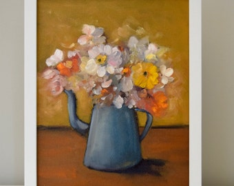 Floral Painting Bouquet mid century fine art Painting Peacock Blue poppies Hearts Content  11 x 14 Swalla Studio