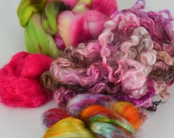Spinning Felting Fleece Fiber Medley Cormo top roving Wensleydale Locks 2.2 Ounces Colorway- Wired