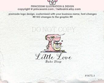 1475-1 Bakery logo design, Mixer , Dessert Logo Design, Custom logo /  Premade Logo Design -   cake shop  illustration by princessmi